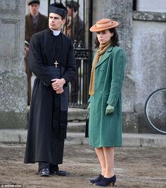 """Rooney Mara and Theo James on the set of """"The Secret Scripture"""" The Secret Scripture, Rooney Mara, Shailene Woodley, Theo James, Famous Faces, On Set, Coat, Dresses, Divergent"""