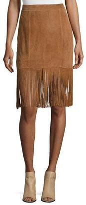 Shop Now - >  https://api.shopstyle.com/action/apiVisitRetailer?id=490026938&pid=2254&pid=uid6996-25233114-59 Cusp by Neiman Marcus Suede Skirt W/Fringe Trim, Saddle  ...