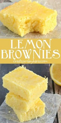 lemon brownies are always a hit! We like these lemon squares even more than traditional lemon bars. So easy to make. via Easy lemon brownies are always a hit! We like these lemon squares even more than traditional lemon bars. So easy to make. Lemon Dessert Recipes, Easy Desserts, Sweet Recipes, Baking Recipes, Delicious Desserts, Yummy Food, Simple Dessert Recipes, Lemon Recipes Easy, Desserts With Lemon