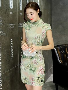 Short Qipao / Cheongsam Dress in Green Floral Print