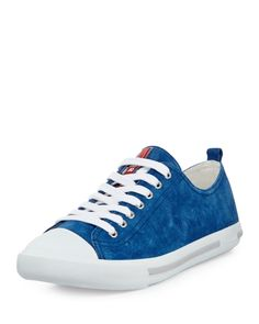 Prada Suede Cap Toe Sneakers - Mavi #prada #pradaturkiye #pradafiyat #orjinalprada