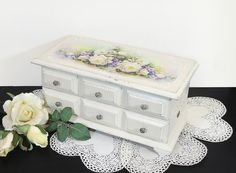 Big Shabby-chic Good Quality Solid Wood Jewelry Box With Decoupage