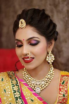 "Orange The Salon ""Portfolio"" album - Bridal Makeup - Bride Wearing a Gold Choker with a Pink and Black Smokey , Gold Jewelry Tikka. Bridal Hairstyle Indian Wedding, Unique Wedding Hairstyles, Bridal Hair Buns, Indian Bridal Hairstyles, Bride Hairstyles, Hairstyle Ideas, Bridal Eye Makeup, Bridal Makeup Looks, Indian Bridal Makeup"
