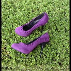 "Purple Ruffle Suede Heels Gently used purple plum ruffle suede 5"" heels in great gently worn condition. Great burst of color for any outfit and pure quality. No flaws but have been gently worn. Great for work or play. Michael Antonio Shoes Heels"