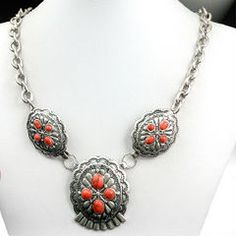 Antique Silver Medallion Necklace with Red Accents