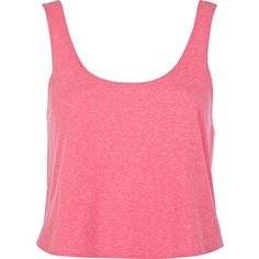 River Island Pink cropped boxy tank ($4) ❤ liked on Polyvore featuring tops, shirts, crop tops, tank tops, pink, sale, t-shirts / tanks / sweats, women, pink shirt and scoop neck shirt