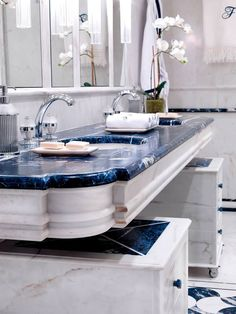 Marbles and Stones - Since 1960 Marble Countertops Bathroom, Marble Bathroom Floor, Bathroom Sink Faucets, Bathroom Flooring, Bathroom Design Luxury, Luxury Interior Design, Interior Ideas, Dream Bathrooms, Amazing Bathrooms
