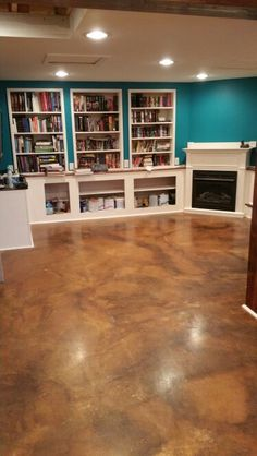 Bookshelves and fireplace.