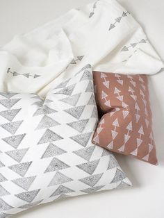 Minimalist Pattern -  Copper Arrow Cushion / White Arrow throw /  White Triad Cushion – susan connor new york