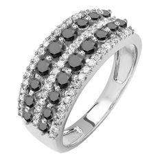 1.15 Carat (ctw) 14k White Gold Round Black And White Diamond Ladies Anniversary Wedding Band Ring (Size 5.5)