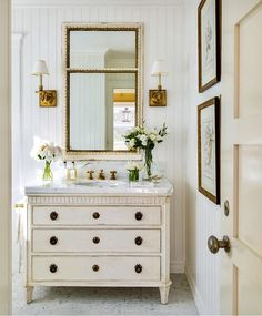 An antique chest of drawers can be transformed into the perfect powder room sink! (just add plumbing)⠀ Photo by ⠀ ⠀ ⠀ ⠀ ⠀ ⠀ ⠀… Diy Bathroom Decor, Bathroom Interior, Small Bathroom, Bathroom Ideas, Bling Bathroom, Disney Bathroom, Rental Bathroom, White Bathroom, Bathroom Wall