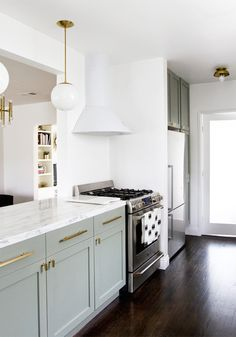 Gray Lower Cabinets, Transitional, kitchen, Farrow and Ball Pigeon, Smitten Studio