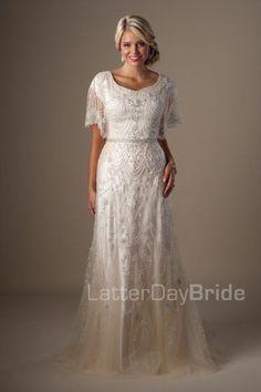 1b0a4ea3beb modest wedding dresses Penelope flutter beaded sleeve 1920s Vintage Wedding  Dress