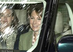 Carole looked relaxed as she was driven to the church service in a Range Rover this mornin...