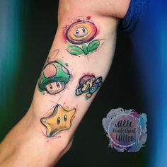 Characters from Super Mario/ Watercolour/Sketchy Tattoo by Valle Kunterbunt Tattoo Gamer Tattoos, Disney Tattoos, Trendy Tattoos, Tattoos For Women, Tattoos For Guys, Cool Tattoos, Tatoos, Tattoo Life, Tattoo Geek