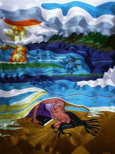 Emmanuel Akosah - Divino Conforto - Fio de Seda s/ tela colado em eucatex flexivel - 70x1,00 cm - a.