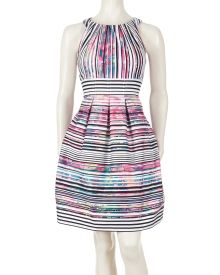Graphic Stripe Print Pleated Fit and Flare Dress - Your closet will find spring inspiration in the bright graphic stripes of this gorgeous fit and flare dress from Nine West. A delicately pleated neckline is mirrored with pleats at the waist for a lady like touch.