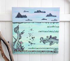 'Under and Over' #ocotpus #seaweed #ocean #oceanart #surfart #waveart