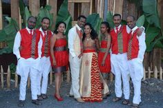 Love the red/gold combo African Print Fashion, Africa Fashion, African Wedding Attire, African Weddings, Ethiopian Traditional Dress, Ethiopian Wedding, Ethnic Wedding, Traditional Wedding Dresses, Our Lady