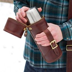 J.W. Hulme American Heritage Leather Thermos Carrier