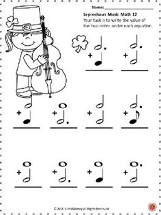 St Patrick's Day Music Worksheets: Music MathExcellent cross-curricular For your St Patrick's Day Music Lessons - Music worksheets aimed at reinforcing students' understanding and knowledge of note and rest values.Each music math… More. Music Lessons For Kids, Music For Kids, Piano Lessons, Guitar Lessons, Guitar Tips, Music Math, Music Classroom, St Patrick's Day Music, Music Theory Worksheets