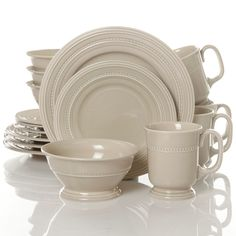 Amazon.com | Gibson Barberware 16 Piece Dinnerware Set, Cream: Dinnerware Sets