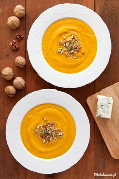 Cream of Carrot Soup with Gorgonzola Cheese.