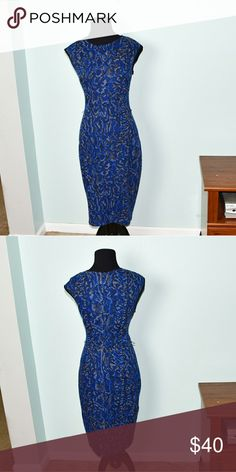 Cache Royal Blue & Grey Print Dress In like new condition. Only worn once. Extremely stretchy, sexy, and comfortable! Very well made and super soft as well! A huge eye catcher! Buy 3 items and get 1 free plus 15% off your purchase total! Cache Dresses Midi