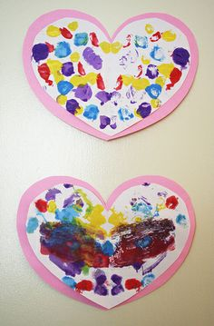 Preschool Valentines Day Crafts | Painted Hearts