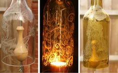 A Touch of Glass by Stewart Neal. Glass Engraved Bottle Chimes and candle holders/lanterns. tea light holders. Stewart uses Eternal Tools glass engraving tools to carve and engrave into his recycled glass bottles. So, drink more wine and make something amazing like Stewart with your empties!