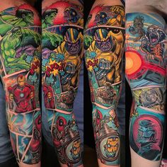 best full sleeve tattoos ever Hulk Tattoo, Deadpool Tattoo, Spiderman Tattoo, Avengers Tattoo, Marvel Tattoos, Full Sleeve Tattoo Design, Full Sleeve Tattoos, Hawaiian Girl Tattoos, Octupus Tattoo
