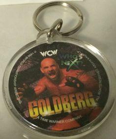 (TAS030255) - WWE WWF WCW Wrestling Round Plastic Goldberg Keychain