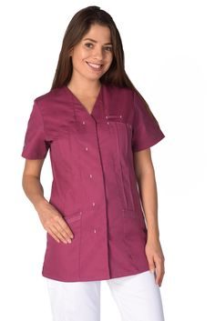 Blouse medicale femme prune Emma - Lafont School Pinafore, Lafont, Housecoat, Prune, Blouses, Women's Fashion, Collection, Style, Outfits