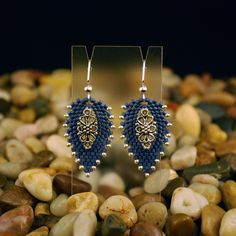 "Beaded ""Denim & Lace"" Earrings. $16.00, via Etsy."