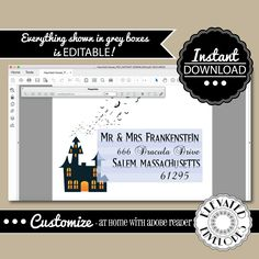 EDITABLE HALLOWEEN ENVELOPE Template,Envelope Addressing,Halloween,Haunted…