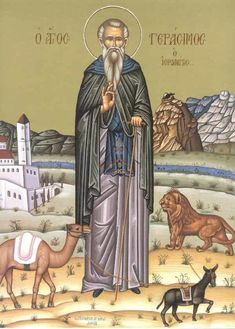 Life of Saint Gerasimos of the Jordan Religious Symbols, Religious Art, Greek Icons, Religious Pictures, Byzantine Art, Orthodox Christianity, Catholic Saints, Orthodox Icons, Holy Spirit