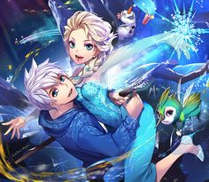 Jack x Elsa by empew So cute! I love that Baby Tooth is there. <-- there's also a tiiiiiiny jack and Elsa before they 'got' their powers on the end of the bridge!