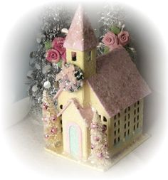 CHURCH House Shabby PINK Cream Glittered Mica by RoseChicFriends, $14.99