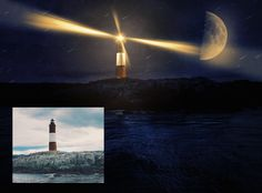 Photoshop video tutorial for transforming day into night effect. Starting from a photo of a lighthouse taken in day light and applying a cool night effect. Texture Photoshop, Photoshop Video, Cool Photoshop, Photoshop Tutorial, Photoshop Actions, Lightroom, Photoshop For Photographers, Photoshop Photography, Photo Effects