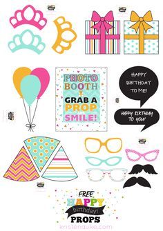 Free Happy Birthday Photo Props at kristenduke.com #printable #prop