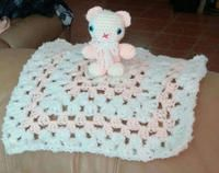"A Great Gift to give a little one. NEW. HandCrafted Lovie Blanket. Color: Off White/Light Peach. Blanket: 17""×17"". Bear: 4""×3"". Washable : delicate cycle Dry: low heat. If preferred mailed $5. S/H"