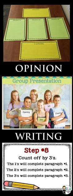 Opinion Writing 101: Students use fun, step-by-step directions to write a collaborative opinion/argument essay. Extra-large table templates and smaller desktop templates help visual and kinesthetic learners master this writing genre. Templates (in multiple formats) may be used throughout the year. #opinionargumentwriting - Available on TpT
