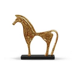 The Trojan statue depicts an alert, geometric, Greek or Etruscan-style horse with flat modeling that features a distinctive mane, waist and tail. This steed is great as a decorative object at home, office or in a sophisticated kid's menagerie.     Details: Gold Leaf Finished Iron And Marble.