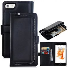 Wallet Leather Case For iPhone 6s 6 plus 7 7 plus Multifunction Zipper Pouch Phone Cases Business Lady Women Style Handbag A53 | iPhone Covers Online Iphone 7, Iphone Wallet Case, Flip Phone Case, Phone Cover, Apple Iphone, Iphone Cases, Purse Wallet, Pocket Wallet, Card Wallet