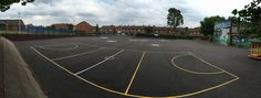 This image is a over view of the play ground markings. #playground #markings #wildzebra #creative #outdoor #play #panoramic #blue #sky #primary #school #holidays #back #to #school