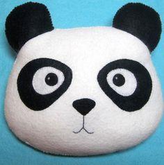Panda Pillow - Plush Felt Stuffed Animal Decoration - Childs Nursery Decor - Valentines Day Gift #plush #panda #pillow