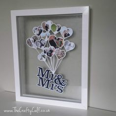 Mr & Mrs Photo Balloon keepsake. Cut from a single sheet of paper so perfect for that Paper Wedding Anniversary gift <3  http://www.thecraftycalf.co.uk/our-shop/prod_3573544-Mr-Mrs-Balloon-Papercut.html