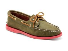New Sperry A/O 2-Eye Olive Peach 5 Womens Shoes >>> Check this awesome product by going to the link at the image.