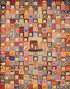 Pieced & Applique Quilt Silk & Embroidery Log Cabin 1870