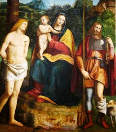 Bernardino Luini Italian painted the The Madonna of the Dragonfly (Madonna and Child with Saints Sebastian and Roche) between 1520-22 using oil on panel. Saints Sebastian and Roche were invoked against the plague, which occurred throughout the 14th and 15th centuries. Luini shows them pleading with